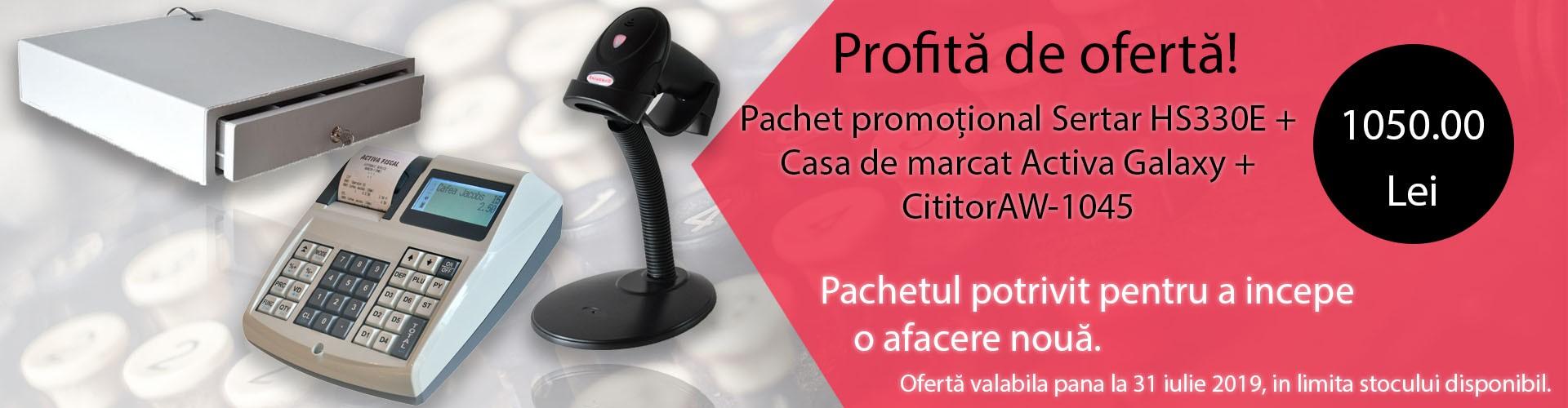 Pachet promotional casa de marcat + sertar de bani + cititor coduri de bare